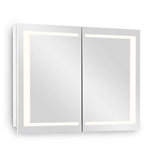 Galdem Spiegelschrank EDGE80 Badezimmerschrank 80cm 2 türig mit LED - Beleuchtung Softclose Funktion Steckdose Badezimmer Spiegel Flurspiegel