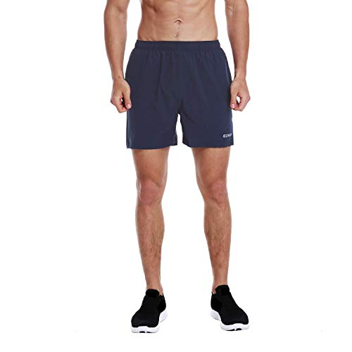 EZRUN Men's 5 Inches Running Workout Shorts Quick Dry Lightweight Athletic Shorts with Liner Zipper Pockets,Navy Blue,XL