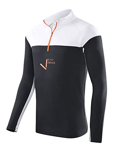 Black Crevice Hommes Zipper Haut Fonctionnel en 4 Couleurs - Noir Blanc, XXL