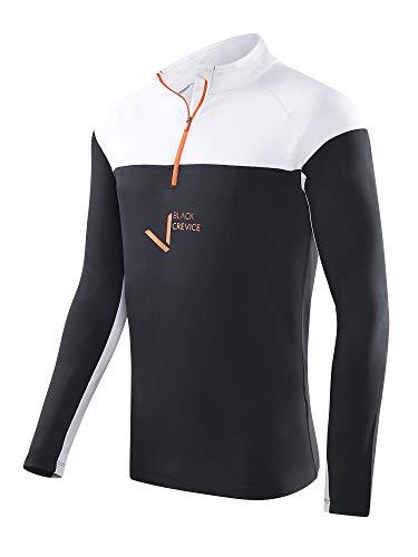Black Crevice Herren Zipper Funktionsshirt, schwarz/weiß, XXL