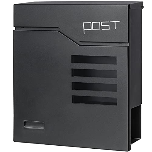Jssmst Locking Mailbox Wall Mount- Waterproof mailboxes with Secure Key Lock and Newspaper Compartment, Key Lock Drop Box Extra Large Capacity, 12.9 x 4.1 x 14.2 Inch, SM-HPB938 Black New