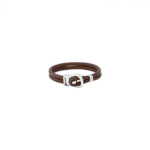 UNO de 50 'Venada' PUL1719MARMTL0L - Pulsera de cuero marrón y cierre con baño de plata.