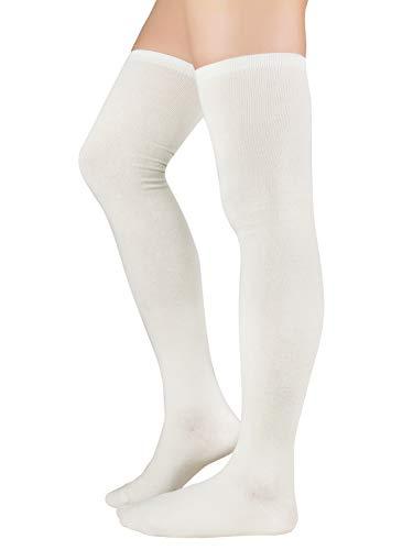 Zando Women Plus Size Thigh High Socks Over Knee Tube Stocking Sock Cotton High Leg Warmers Warm Cosplay Legging Sock 1 Pair White One Size