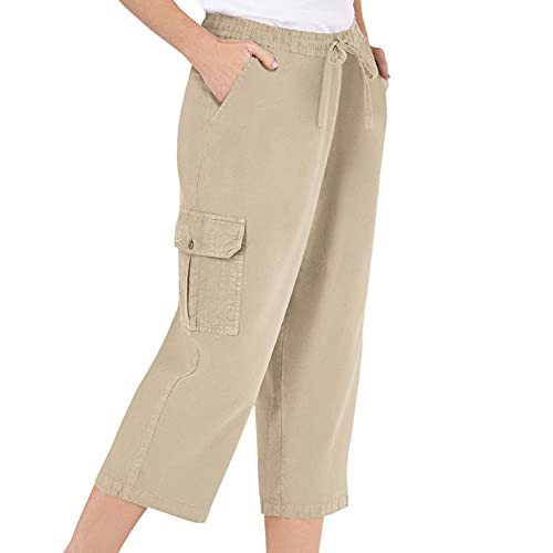Women's Elastic Waist Cargo Pocket Capri Pant, Khaki, Medium