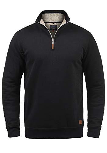 Blend Aliere Teddy Herren Sweatshirt Troyer Pulli Mit Stehkragen Und Teddy-Futter, Größe:M, Farbe:Black Teddy (75123)