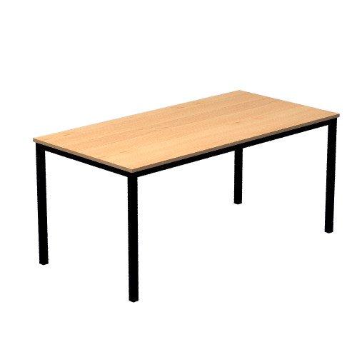Unbekannt Konferenztisch mit Vierkant-Rohr schwarz Doran 160 x 80cm Buche