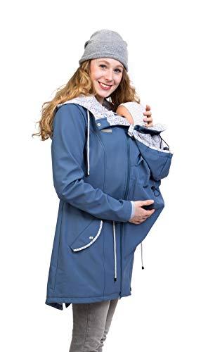Viva la Mama - Umstandsjacke Tragejacke mit Einsatz Softshell Rücken Bauch Tragen - PINA schieferblau- XS