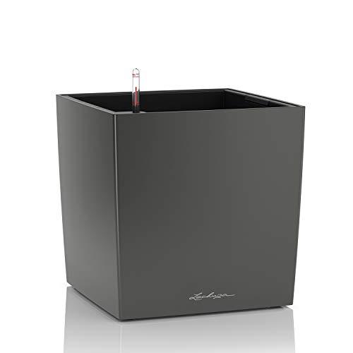 LECHUZA CUBE Premium 40, Anthrazit metallic, Hochwertiger Kunststoff, Inkl. Bewässerungssystem, Herausnehmbarer Pflanzeinsatz, Für Innen- und Außennutzung, 16363
