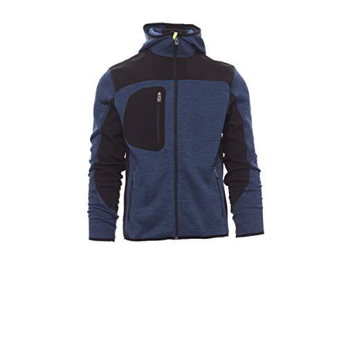 PAYPER Trip Giacca Softshell Uomo da Lavoro 100% Poliestere Chiusura Zip con Cappuccio Tasca al Petto Blu Melange/Nero-Giallo Fluo (5XL)