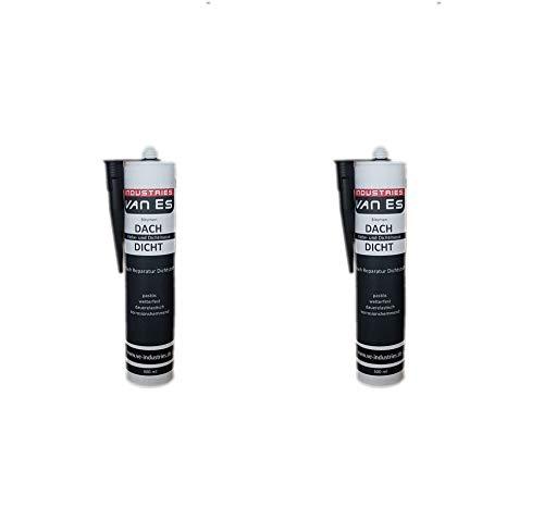 2x PROFI Dach Dicht Reparatur Bitumenkleber Kaltkleber Dichtstoff Bitumendichter schwarz Kartusche 310 ml