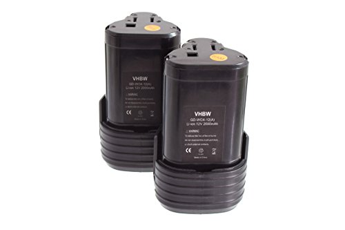 vhbw 2x baterías Li-Ion 2000mAh para herramientas eléctricas atornillador a batería Worx...