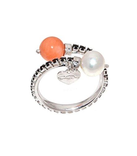 EveryDayGioielli anello donna argento 925 rodiato, modello contrariè con perle e contorno di pietre swarovski nere, misura regolabile, made in Italy
