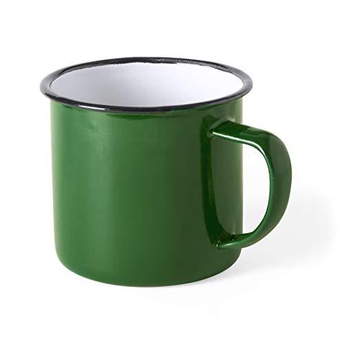 FUN FAN LINE - Set de tazas metálicas vintage o retro presentada en caja individual (Verde, 4 tazas)