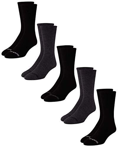 Reebok Men s Cushioned Comfort Athletic Performance High Crew Socks (5 Pack) (Grey Black, Shoe Size: 6-12.5)