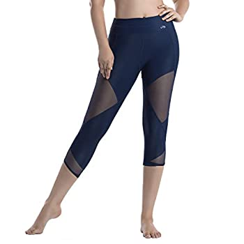 LIN Women's Running Tights Mid-Waist Tummy Control Mesh Leggings Naked Feeling for Yoga Gym Training Workout