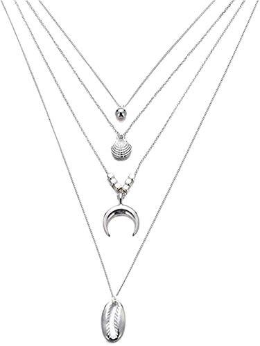 WYDSFWL Collar Textura de Concha Collar de Perlas Collar en Capas para Mujer y Colgante Regalos