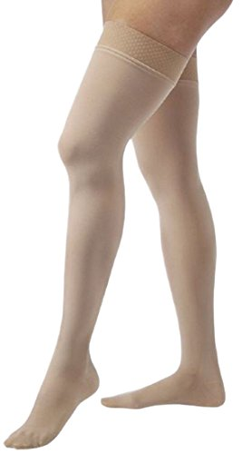 JOBST Relief 20-30 mmHg Compression Socks, Thigh High with Silicone Band, Beige, Large