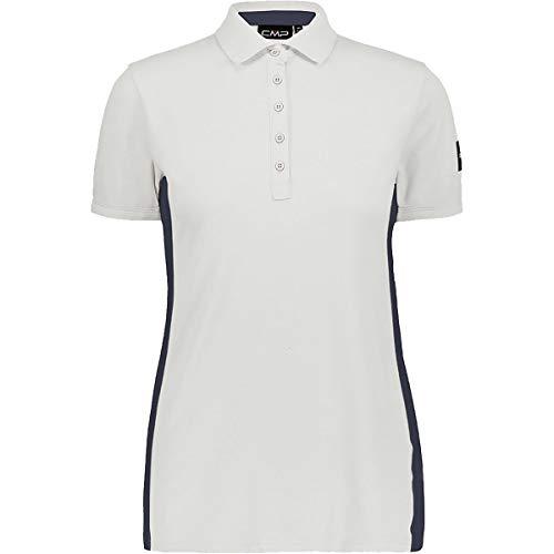 CMP Damen Polohemd mit seitlichem Streifen, Beige (Bianco Gesso A143), 48
