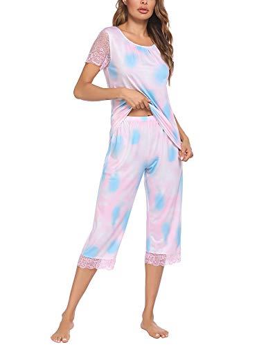 Ekouaer Women's Pajama Sets Capri Pants with Short Tops Summer Sleepwear Ladies Sleep Sets