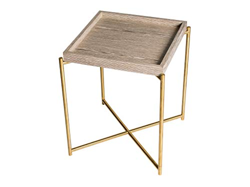 Square Tray Top Side Table - Weathered Oak Tray & Brass Frame