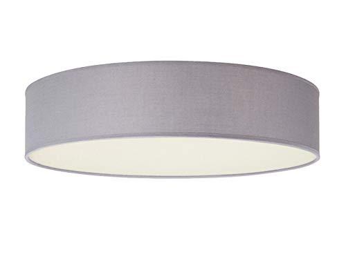 Smartwares Zeitlose runde Deckenleuchte mit LED Licht - Stoffschirm in Grau Ø 50cm & satinierte Abdeckung für blendfreie Beleuchtung