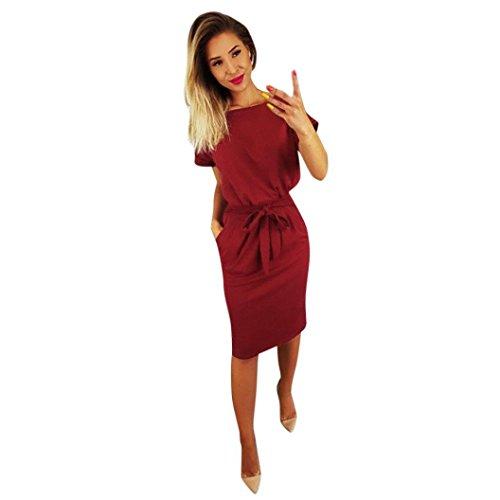 Elecenty Damen Bürokleid Solide Cocktailkleider Halbe Ärmel Kleidung Rock Abendkleider Rundhals Frauen Mode A-Linie Kleid Partykleid Schlank Hemdkleid Blusekleid Sommerkleid (XL, weinrote)