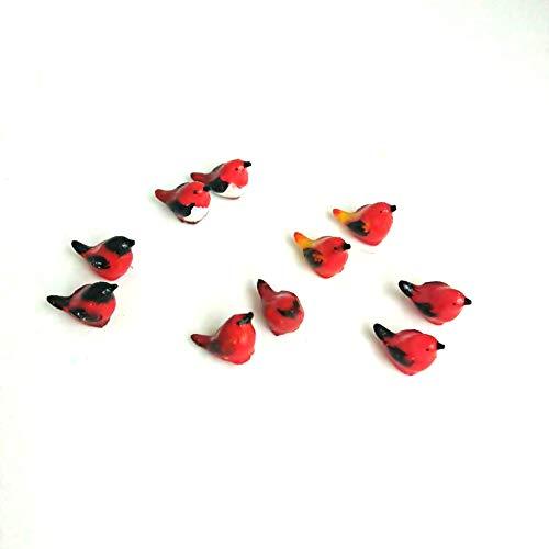 An_Shop 10pcs Artificial Animal Accessories Clay Multicolor Red Birds Packs Miniature Figurine Mini Decorative for DIY Ornament Craft DIY Dollhouse