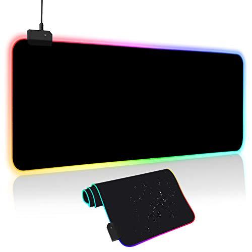 Hiveseen 大型マウスパッド ゲーミング 防水防塵水洗い USB 拡張 マウスパッド LED 発光 14RGBモード 7色の発光色 滑り止め 800m*300m*4mm ブラック