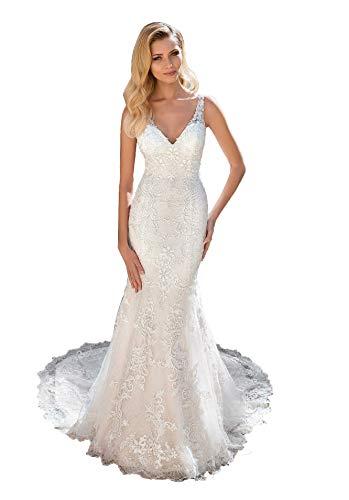 Clothfun Women's Elegant V-Neck Lace Beach Wedding Dresses for Bride 2021 Long Mermaid Bridal Gowns Ivory 6