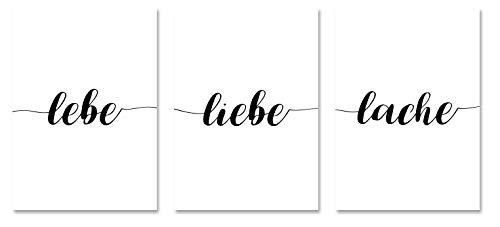 PICSonPAPER Poster 3er-Set lebe, Liebe Lache, ungerahmt DIN A4, Dekoration, Kunstdruck, Wandbild, Typographie, Geschenk (Ungerahmt DIN A4)
