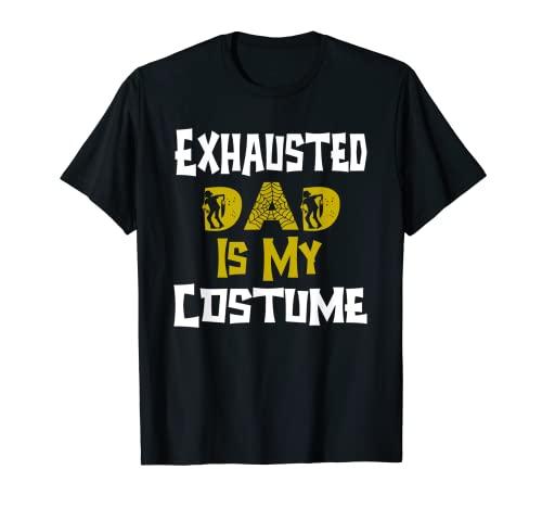 Disfraz de Papá Exhausted Is My Costume para hombre de Halloween Lazy Easy Camiseta