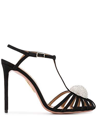 AQUAZZURA Luxury Fashion Damen SUBHIGP0SUE000 Schwarz Wildleder Sandalen | Frühling Sommer 20