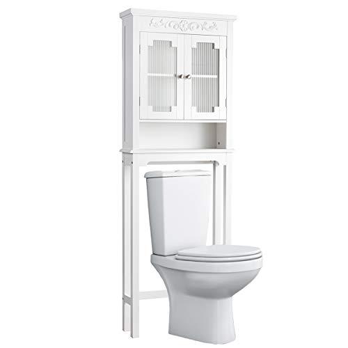 COSTWAY Waschmaschinenschrank mit verstellbarem Regal und offenem Fach, Toilettenschrank mit Glastüren, Überbauschrank Bad, Badschrank weiß, Hochschrank für Waschmaschine und WC, 61 x 19 x 170 cm