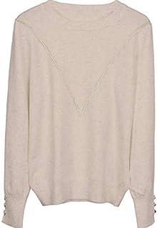 SDJYH suéter de Mujer con Cuello Redondo, suéteres de Punto Suave, Tops para Mujer 01