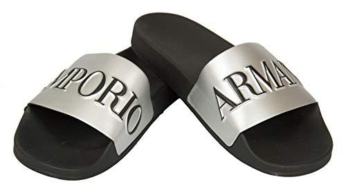 Emporio Armani Zapatillas de hombre plastic shoes beachwear artículo X4PS04 XM291 SLIPPER PU METAL made in Italy, M598 Black + silver + black, EU 42 - UK 8 - USA 8,5 - CN 269/92