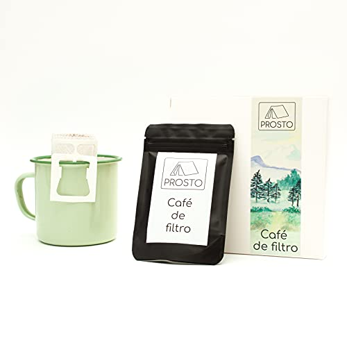 Café de filtro de bolsillo para camping, actividades y ocio al aire libre   Café molido de tueste natural (6 unidades)