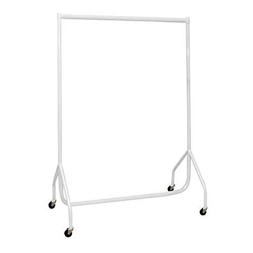 Kraftig vit klädstång 3 fot lång x 5 fot hög klädförvaring ställning 32 mm stålrör