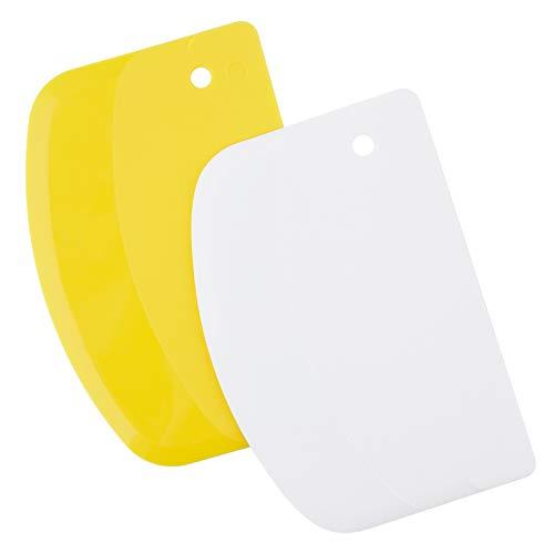 LUTER 2 Stück 13,5x9cm Teigschaberkarte Teigschneider Schüsselschaber Teigbrotschneider zum Backen, Kunststoff (Gelb, Weiß)