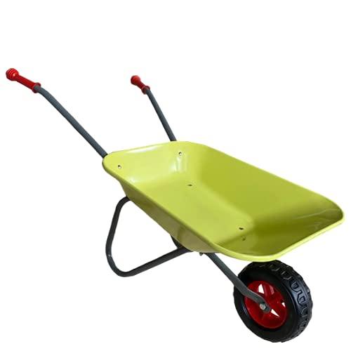 ASC Brouette en métal pour enfant - Vert clair/gris - Jouet, ferme, jardinage