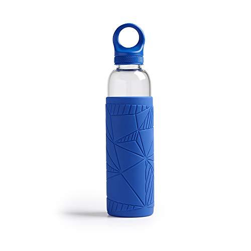 Botella de agua Libbey – Botella de vidrio – 550ml / 55cl – Azul - Moderno - Sostenible – A prueba de choques