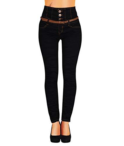 Danaest Damen Jeans Hose Skinny Corsage High Waist Röhrenjeans inkl. Gürtel (434), Schwarz, 42