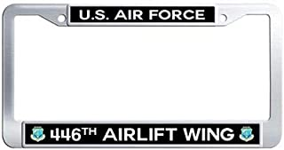 Makoncase US Air Force 446th Airlift Wing Auto License Tag Holder,Stainless Steel License Cover Holder