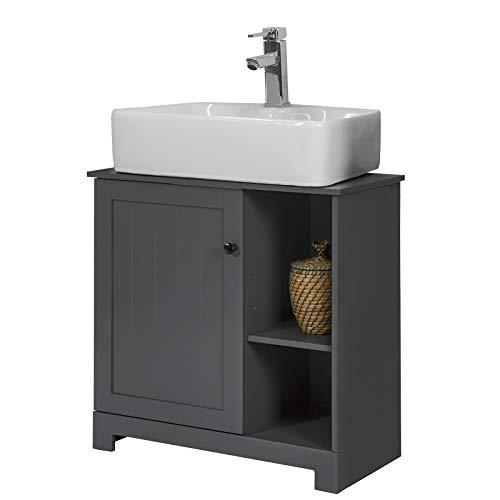 SoBuy BZR38-DG Waschbeckenunterschrank mit 2 Ablagen und 1 Tür Badschrank Waschtisch Unterschrank Badmöbel dunkelgrau BHT ca: 60x60x30cm