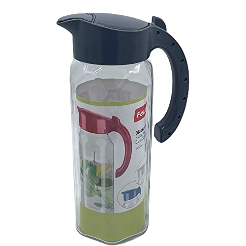 Feinbach Jarra de cristal de 1,5 l, apta para lavavajillas, de cristal de alta calidad y sin BPA, agua, zumo, té (gris)