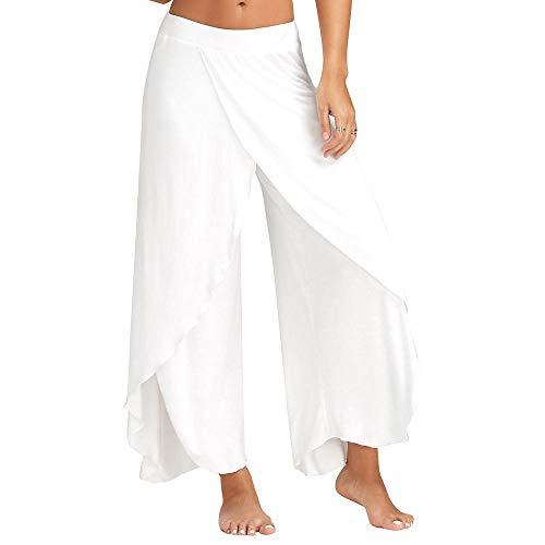 quming Sin Costuras Malla Mujer Deportivo,Pantalones de Yoga Holgados y Delgados de Gimnasio para Mujeres, Pierna Ancha, Deportes fluidos, Fitness-White_XL