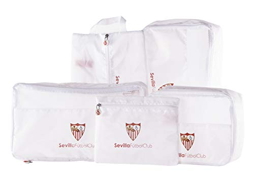 Sevilla Fútbol Club Organizador de Equipaje - Producto Oficial del Equipo, con 5 Piezas Diferentes y Fabricado en Nylon muy Ligero para No Añadir Peso a la Maleta