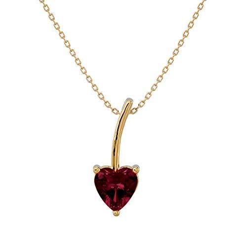 VVS Gems - Collar con colgante de solitario de oro de 14 quilates con forma de corazón de 0,5 quilates para mujer, piedra natal
