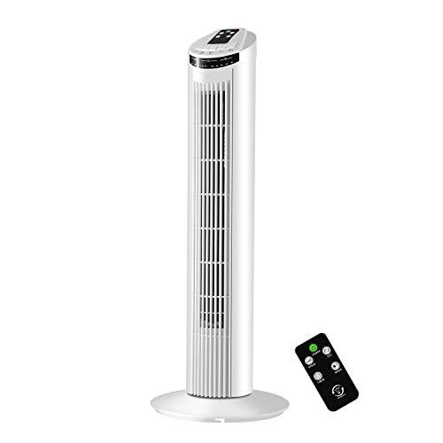 Famgizmo Turmventilator, 75cm Ventilator Säulenventilator, Fernsteuerung mit Zeitschalter von 7.5H, 3 Stufen Standventilator, Oszillierender 90° (Schwenkbar), 45 Watt Leistungsstarker Motor, Weiss
