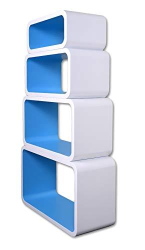 Mensola da Muro Libreria Scaffale Vari Colori retrò Cubi Moderno LO01 (Bianco/Blu)