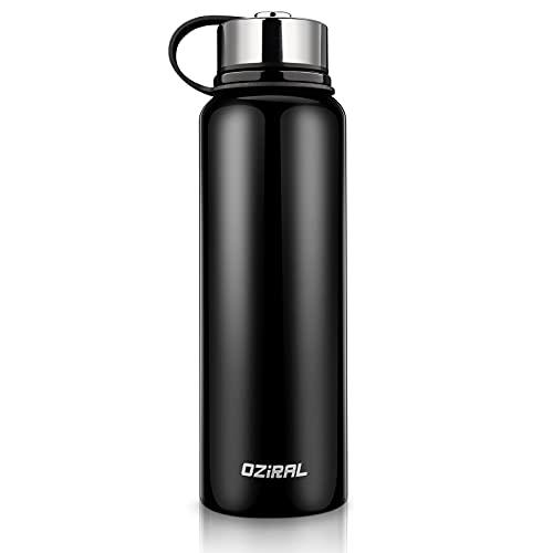 Oziral Borraccia Termica Acciaio Inox, Borraccia Termica 1000ML Sottovuoto, Thermos Bevande Calde senza BPA Adatto per campeggio,fitness e sport all'aria aperta.Nero